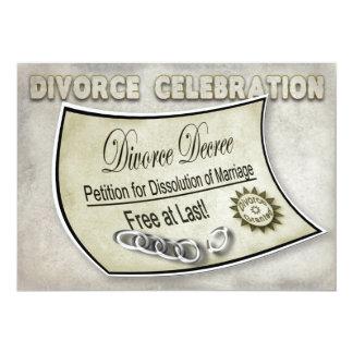 CELEBRACIÓN INVIATION - DECRETO DEL DIVORCIO INVITACIÓN 12,7 X 17,8 CM
