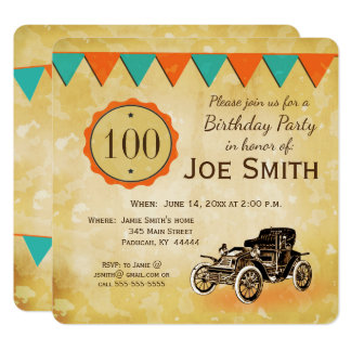 Celebración pasada de moda/del vintage del coche invitación 13,3 cm x 13,3cm