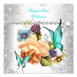 Celebración subió melocotón del blanco de la plata invitación 13,3 cm x 13,3cm