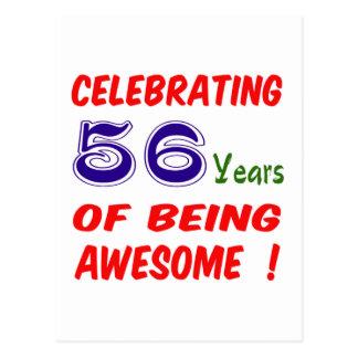 ¡Celebrando 56 años de ser impresionante! Tarjeta Postal