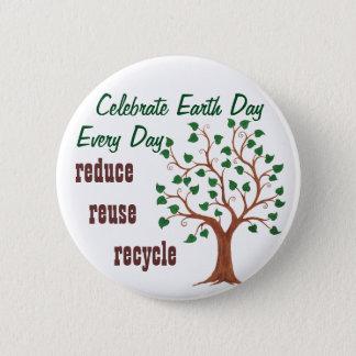 Celebre el Día de la Tierra - Pin del Chapa Redonda De 5 Cm