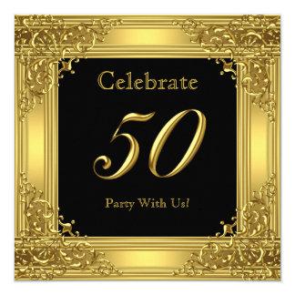 Celebre el negro de oro 50 del 50.o de cumpleaños invitación 13,3 cm x 13,3cm
