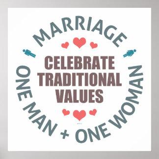 Celebre los valores tradicionales póster