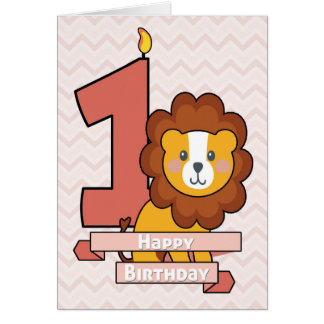 Celebre un primer cumpleaños con el león lindo tarjeta de felicitación