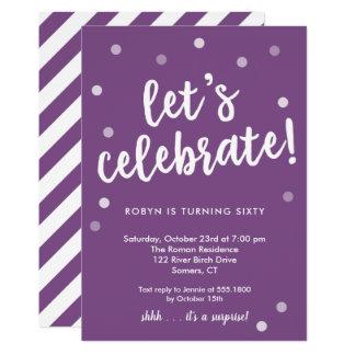 Celebremos el confeti, invitación púrpura del
