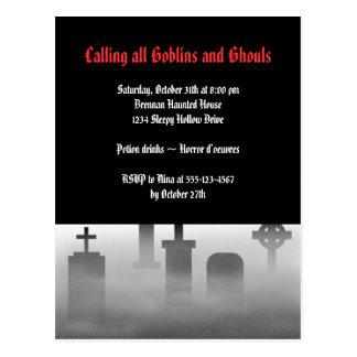 Cementerio espeluznante Halloween gótico de la Postal