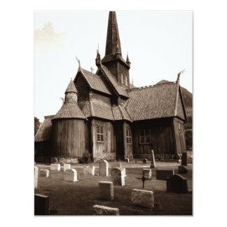 Cementerio gótico de la iglesia de la sepia en invitación 10,8 x 13,9 cm