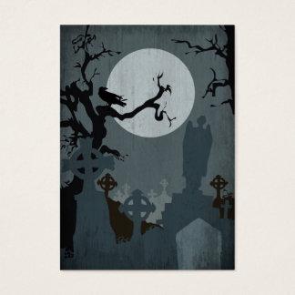 Cementerio y Luna Llena para Halloween Tarjeta De Negocios