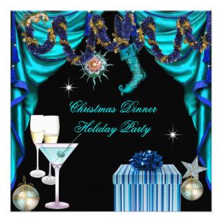Cena blanca azul del navidad elegante de la celebr invitación