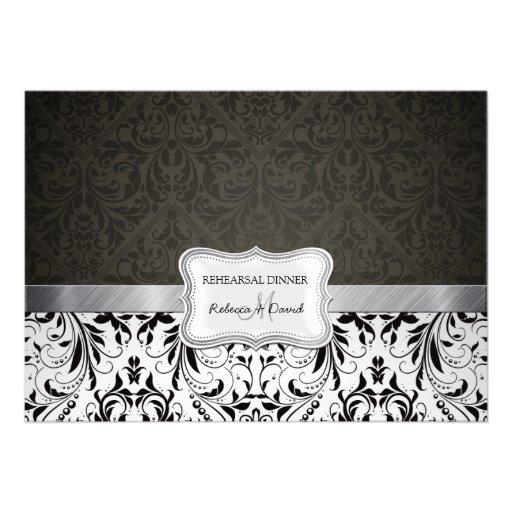 Cena blanco y negro elegante del ensayo del damasc invitación personalizada