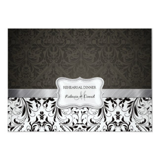 Cena blanco y negro elegante del ensayo del invitación personalizada