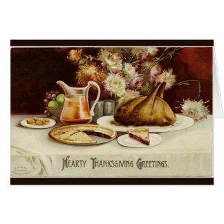 Cena calurosa de la acción de gracias tarjeta de felicitación