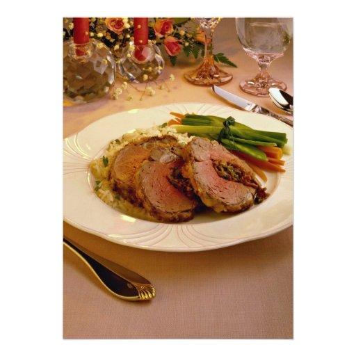 Cena cortada de la carne de vaca invitaciones personalizada