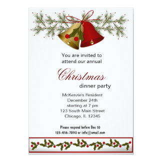 Cena de Belces de navidad Invitación 12,7 X 17,8 Cm