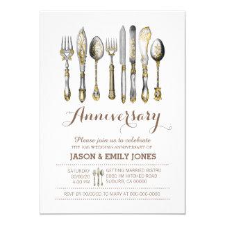 Cena de la celebración del aniversario de boda invitación 12,7 x 17,8 cm