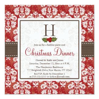 Cena de navidad de la baya del acebo del damasco invitación 13,3 cm x 13,3cm