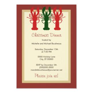 Cena de navidad de la langosta invitación 12,7 x 17,8 cm