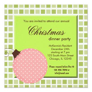 Cena de navidad de los cuadrados invitación 13,3 cm x 13,3cm