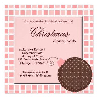 Cena de navidad de los cuadrados invitacion personalizada