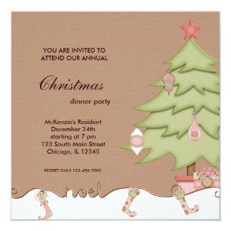 Cena de navidad de Noel Invitación 13,3 Cm X 13,3cm