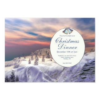 Cena de navidad enfriada de las colinas invitación 12,7 x 17,8 cm