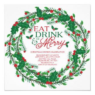 Cena de navidad festiva de la guirnalda del día de invitación 13,3 cm x 13,3cm