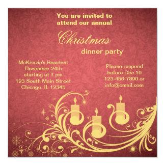 Cena de navidad invitación 13,3 cm x 13,3cm