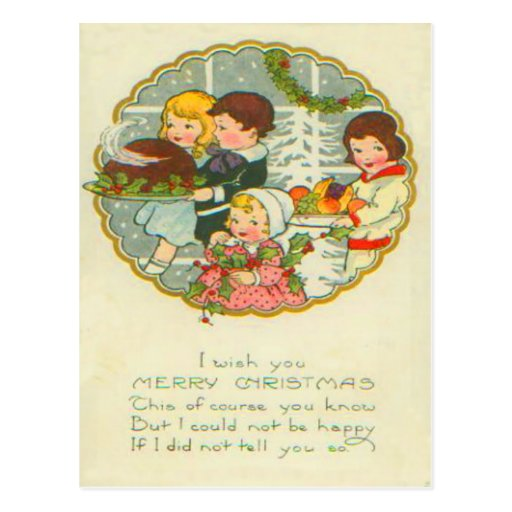 Cena de navidad tarjeta postal