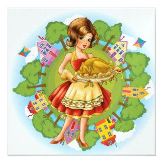 Cena de Turquía - acción de gracias - navidad - Invitación 13,3 Cm X 13,3cm