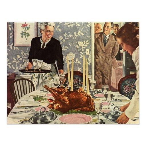 Cena de Turquía del día de la acción de gracias de Comunicado Personalizado