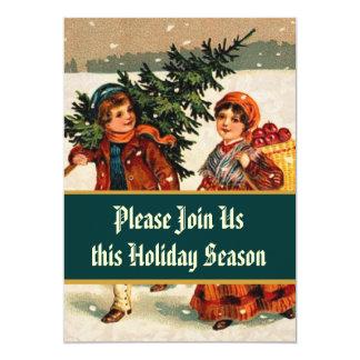 Cena del árbol de navidad de los niños del vintage invitación 12,7 x 17,8 cm