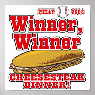 Cena del Cheesesteak del ganador de Philly Póster