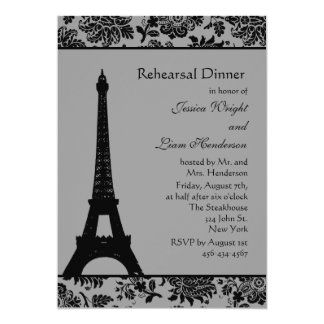 Cena del ensayo de la torre Eiffel del damasco Invitación 12,7 X 17,8 Cm