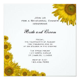 Cena del ensayo del boda del borde del girasol invitación 13,3 cm x 13,3cm