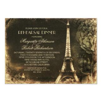 Cena del ensayo del vintage de la torre Eiffel de Invitación 12,7 X 17,8 Cm
