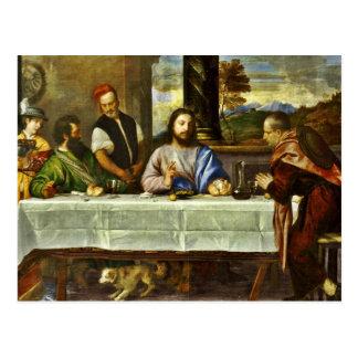 Cena en Emmaus con los amigos Postal