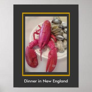 Cena en Nueva Inglaterra - alimentación de la Póster