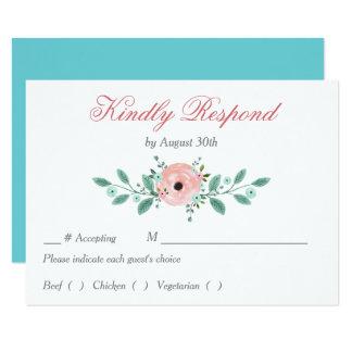 Cena floral azul rosada RSVP del ensayo del boda Invitación 8,9 X 12,7 Cm