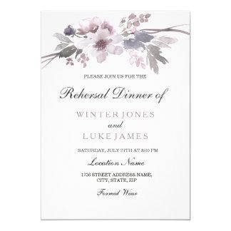 Cena floral del ensayo del boda del invierno gris invitación 12,7 x 17,8 cm