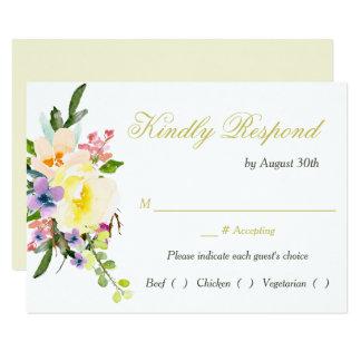Cena floral RSVP del ensayo del boda del otoño Invitación 8,9 X 12,7 Cm