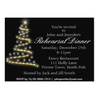 Cena negra del ensayo del árbol de navidad del oro invitación 12,7 x 17,8 cm