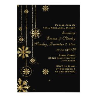 Cena negra del ensayo del boda de los copos de invitación 12,7 x 17,8 cm