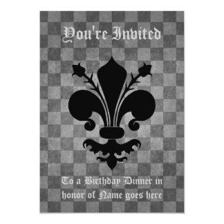 Cena negra punky gótica de Birhtday de la flor de Invitación 12,7 X 17,8 Cm