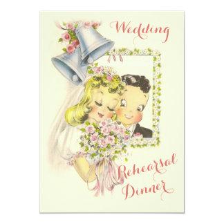 Cena retra caprichosa del ensayo de novia y del invitación 12,7 x 17,8 cm