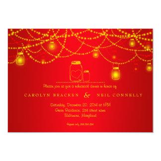 Cena roja chispeante del ensayo de las luces del invitación 12,7 x 17,8 cm