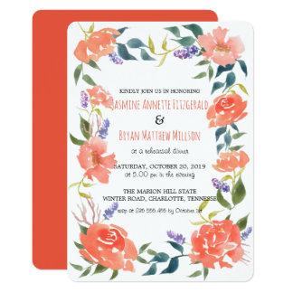 Cena roja del ensayo de la guirnalda de las flores invitación 12,7 x 17,8 cm