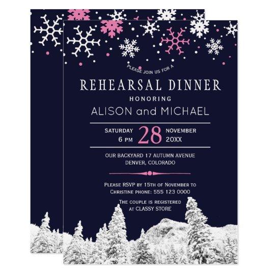 Cena rosada del ensayo del invierno de los copos invitación 12,7 x 17,8 cm