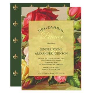 Cena subió vintage elegante de lujo del ensayo del invitación 12,7 x 17,8 cm