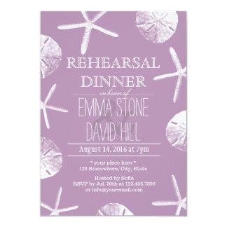 Cena violeta con clase del ensayo del boda del invitación 12,7 x 17,8 cm