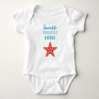 Centelleo poca estrella azul y coral náutico body para bebé